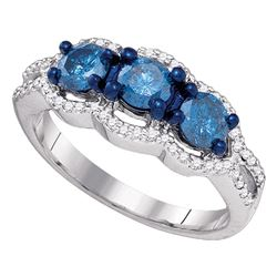 10kt White Gold Round Blue Color Enhanced Diamond 3-stone Bridal Wedding Engagement Ring 1-1/5 Cttw