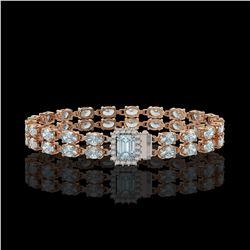 14.35 ctw Aquamarine & Diamond Bracelet 14K Rose Gold