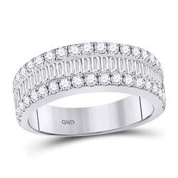 14kt White Gold Baguette Diamond Anniversary Band Ring 1-1/2 Cttw