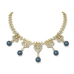 24 ctw Diamond and Pearl Necklace 18K Yellow Gold