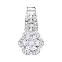 10kt White Gold Round Diamond Cluster Slider Pendant 1/2 Cttw
