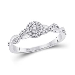 10kt White Gold Round Diamond Solitaire Twist Woven Promise Bridal Ring 1/6 Cttw