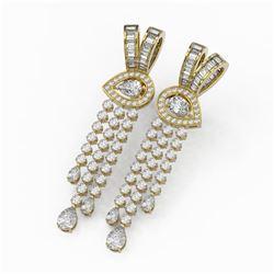 14.64 ctw Pear Diamond Designer Earrings 18K Yellow Gold