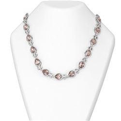63.23 ctw Morganite & Diamond Necklace 18K White Gold