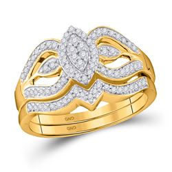 10kt Yellow Gold Round Diamond Oval Cluster Bridal Wedding Engagement Ring Band Set 1/3 Cttw