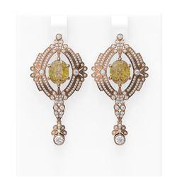 10.44 ctw Canary Citrine & Diamond Earrings 18K Rose Gold