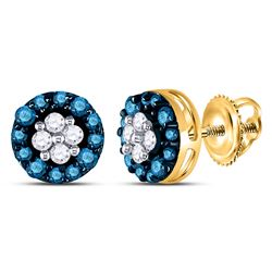 10k Yellow Gold Blue Color Enhanced Round Cluster Diamond Screwback Stud Earrings 1/3 Cttw