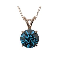 1.04 ctw Certified Intense Blue Diamond Necklace 10K Rose Gold