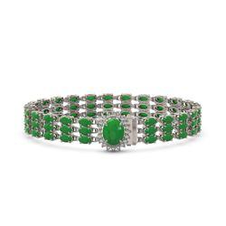 19.47 ctw Jade & Diamond Bracelet 14K White Gold