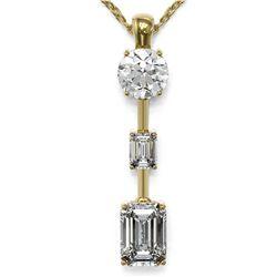 1.75 ctw Emerald Cut Diamond Designer Necklace 18K Yellow Gold