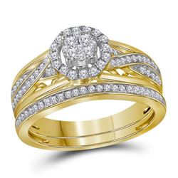 14kt Yellow Gold Round Diamond Cluster Bridal Wedding Engagement Ring Band Set 1/2 Cttw