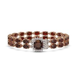 30.98 ctw Garnet & Diamond Bracelet 14K Rose Gold