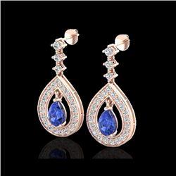 2.25 ctw Tanzanite & Micro Pave VS/SI Diamond Earrings 14K Rose Gold