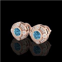 1.5 ctw Fancy Intense Blue Diamond Art Deco Earrings 18K Rose Gold