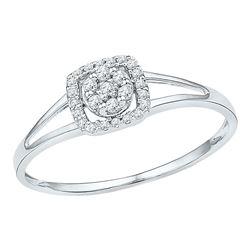 10kt White Gold Round Diamond Square Frame Cluster Ring 1/10 Cttw