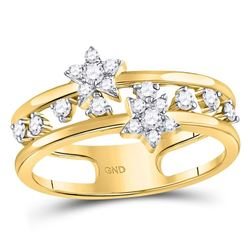 14kt Yellow Gold Round Diamond Open Double Star Band Ring 1/3 Cttw