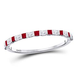 10kt White Gold Princess Ruby Diamond Alternating Stackable Band Ring 3/8 Cttw