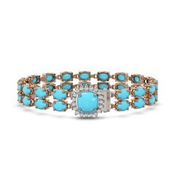 13.37 ctw Turquoise & Diamond Bracelet 14K Rose Gold