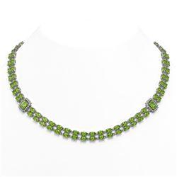 56.5 ctw Peridot & Diamond Necklace 14K White Gold