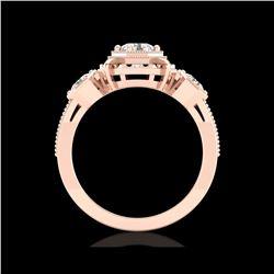 1.01 ctw VS/SI Diamond Solitaire Art Deco 3 Stone Ring 18K Rose Gold