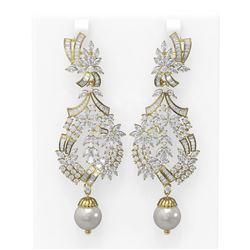 20.56 ctw Diamond and Pearl Earrings 18K Yellow Gold