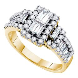 14kt Yellow Gold Baguette Diamond Rectangle Frame Cluster Ring 1.00 Cttw