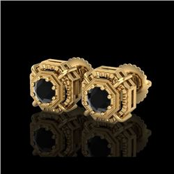 1.11 ctw Fancy Black Diamond Art Deco Stud Earrings 18K Yellow Gold
