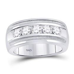 14kt White Gold Mens Round Diamond Single Row 5-Stone Wedding Band Ring 1-1/2 Cttw