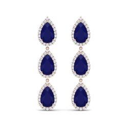 27.06 ctw Sapphire & VS Diamond Earrings 18K Rose Gold