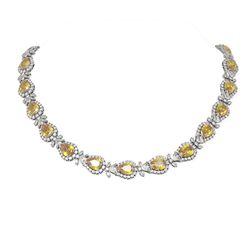 73.15 ctw Citrine & Diamond Necklace 18K White Gold