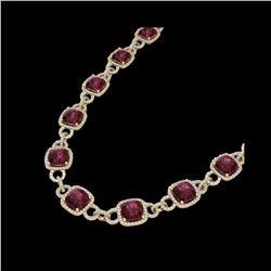 66 ctw Garnet & Micro VS/SI Diamond Eternity Necklace 14K Yellow Gold