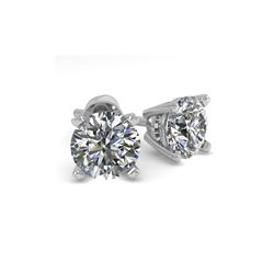 1.02 ctw VS/SI Diamond Stud Designer Earrings 18K White Gold