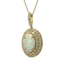 13.42 ctw Certified Opal & Diamond Victorian Necklace 14K Yellow Gold