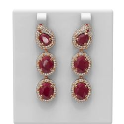 21.3 ctw Ruby & Diamond Earrings 18K Rose Gold
