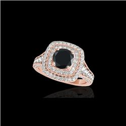 2 ctw Certified VS Black Diamond Solitaire Halo Ring 10K Rose Gold