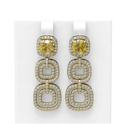 5.73 ctw Canary Citrine & Diamond Earrings 18K Yellow Gold