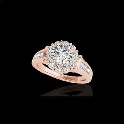 1.9 ctw Certified Diamond Solitaire Halo Ring 10K Rose Gold