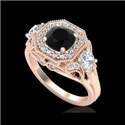 2.11 ctw Fancy Black Diamond Art Deco 3 Stone Ring 18K Rose Gold