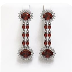 11.7 ctw Garnet & Diamond Earrings 14K White Gold