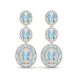 34.52 ctw Sky Topaz & VS Diamond Earrings 18K Rose Gold