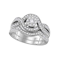 10kt White Gold Round Diamond Milgrain Twist Bridal Wedding Engagement Ring Band Set 1/2 Cttw