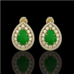7.74 ctw Jade & Diamond Victorian Earrings 14K Yellow Gold
