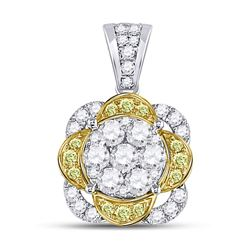 14kt White Gold Round Yellow Diamond Flower Cluster Pendant 1.00 Cttw