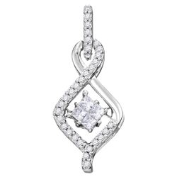 10kt White Gold Princess Diamond Moving Twinkle Cluster Teardrop Pendant 1/5 Cttw