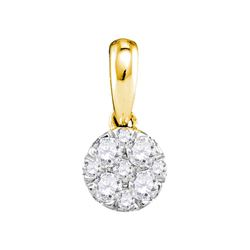 14kt Yellow Gold Round Diamond Circle Cluster Pendant 1/4 Cttw