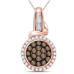 14kt Rose Gold Round Brown Diamond Circle Cluster Pendant 3/8 Cttw