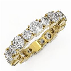 3.9 ctw Cushion Cut Diamond Eternity Ring 18K Yellow Gold