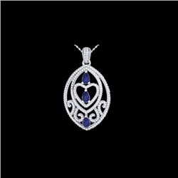 3.50 ctw Tanzanite & Micro VS/SI Diamond Heart Necklace 18 18K White Gold