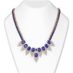 88.87 ctw Sapphire & Diamond Necklace 18K Rose Gold