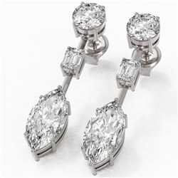 5 ctw Marquise Cut Diamond Designer Earrings 18K White Gold